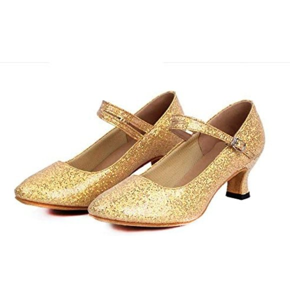 staychicfashion Womens Glitter Latin Ballroom Dance Shoes Pointed-Toe Y Strap Dancing Heels